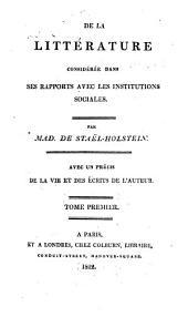 De la littérature considérée dans ses rapports avec les institutions sociales
