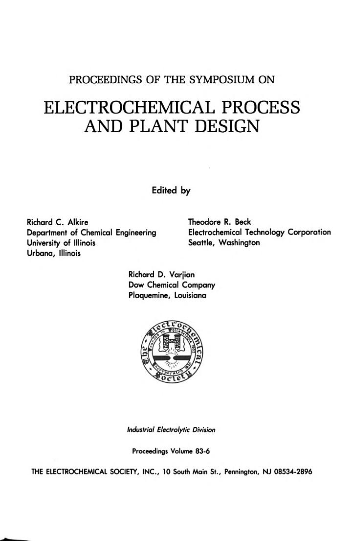 Proceedings of the Symposium on Electrochemical Process and Plant Design
