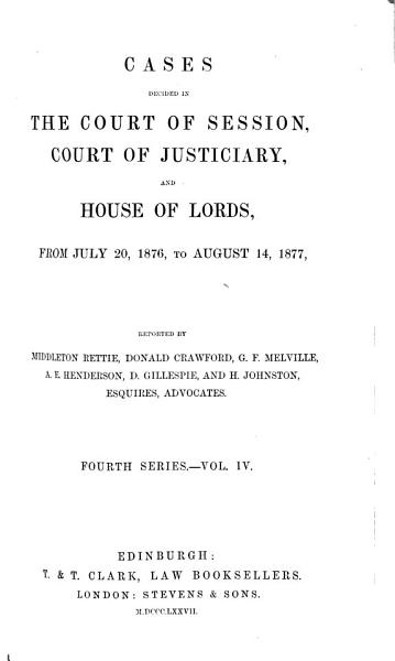 Download Cases Decided in the Court of Session  Court of Justiciary  and House of Lords Book