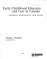 Early Childhood Education and Care in Canada   Contexts  Dimensions  and Issues PDF