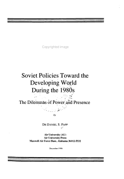 Soviet Policies Toward the Developing World During the 1980s PDF