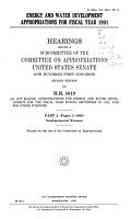Energy and Water Development Appropriations for Fiscal Year 1991 PDF