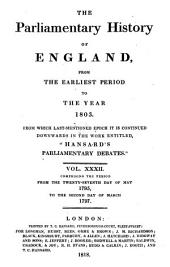 "Cobbett's Parliamentary History of England: From the Norman Conquest, in 1066. to the Year, 1803. from which Last-mentioned Epoch it is Continued Downwards in the Work Entitled, ""Cobbett's Parliamentary Debates."" ..."