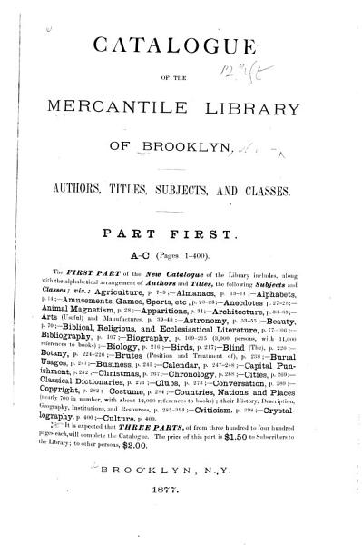Download Catalogue of the Brooklyn Library Book