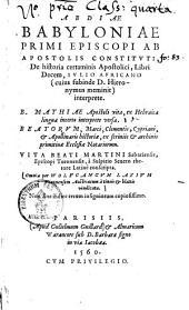 ¬Abdiae ¬Babyloniae ¬primi ¬episcopi ¬ab ¬apostolis ¬constituti de historia certaminis apostolici, libri decem