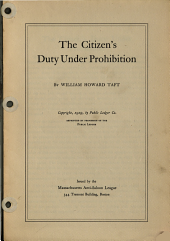 The Citizen's Duty Under Prohibition