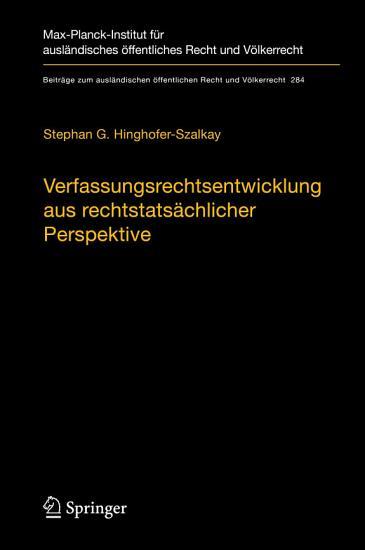 Verfassungsrechtsentwicklung aus rechtstats  chlicher Perspektive PDF