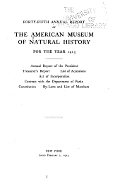 Annual Report of the American Museum of Natural History: Volume 45