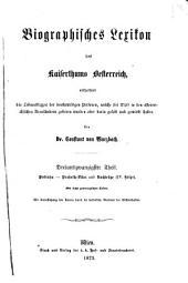 Biographisches lexikon des kaiserthums Oesterreich: enthaltend die lebensskizzen der denkwürdigen personen, welche seit 1750 in den österreichischen kronländern geboren wurden oder darin gelebt und gewirkt haben, Band 23