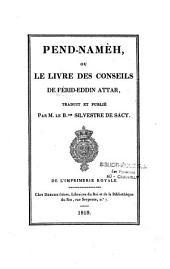 Pend-namèh, ou le Livre des conseils
