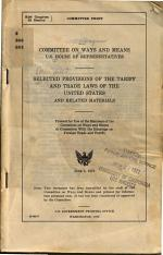 Selected Provisions of the Tariff and Trade Laws of the United States and Related Materials