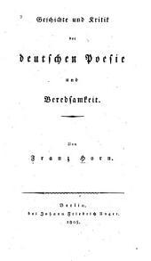 Geschichte und Kritik der deutschen Poesie und Beredsamkeit