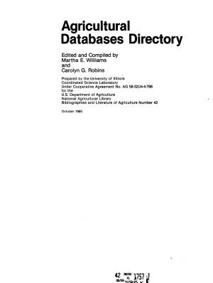 Agricultural Databases Directory