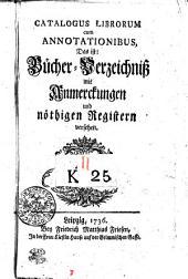 Catalogus Librorum cum Annotationibus
