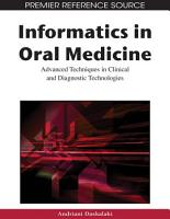 Informatics in Oral Medicine  Advanced Techniques in Clinical and Diagnostic Technologies PDF