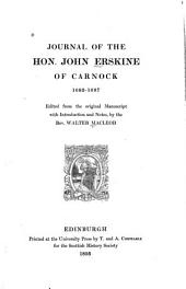 Journal of the Hon. John Erskine of Carnock, 1683-1687: Volume 14