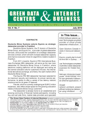 Green Data Centers Monthly Newsletter July 2010