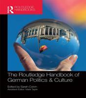 The Routledge Handbook of German Politics   Culture PDF