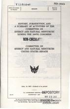 History  Jurisdiction  and a Summary of Activities of the Committee on Energy and Natural Resources During the     PDF