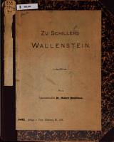 Zu Schillers Wallenstein PDF
