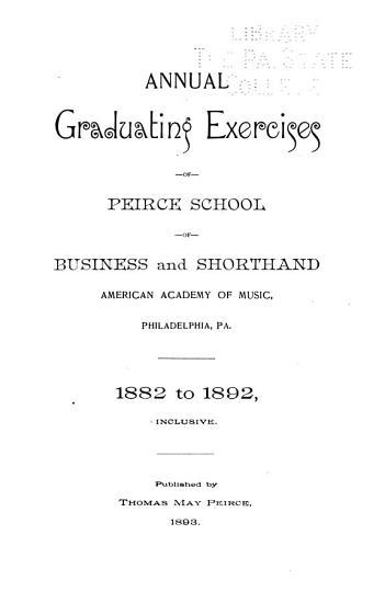 Annual Graduating Exercises  1882 1892 PDF