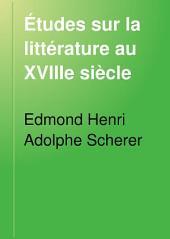 Études sur la littérature au XVIIIe siècle