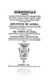 Memorias sobre el estado rural del Rio de la Plata en 1801: demarcacion de límites entre el Brasil y el Paraguay á últimos del siglo XVIII, é informes sobre varios particulares de la América Meridional española