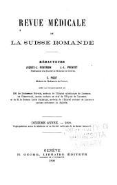 Revue médicale de la Suisse romande: Volume10