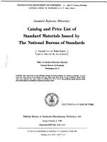 Catalog and Price List of Standard Materials Issued by the National Bureau of Standards     PDF