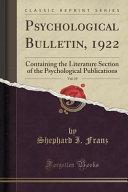 Psychological Bulletin  1922  Vol  19 PDF