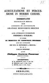 De auscultatione et percussione in morbis cordis: Dissertatio Inauguralis Medica