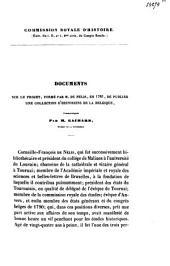 Documents sur le projet formé par M. De Nélis en 1783, de publier une collection d'histoiriens en Belgique