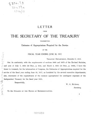 Letter from the Secretary of the Treasury  Transmitting Estimates of Appropriations Required for the Service of the Fiscal Year Ending