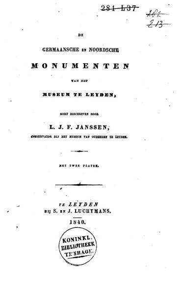 De Germaansche en Noordsche monumenten van het museum te Leyden