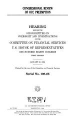 Congressional Review of OCC Preemption