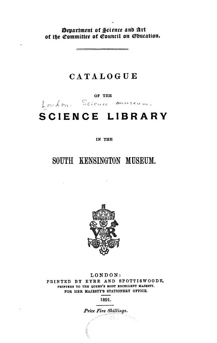 Catalogue of the Science Library...