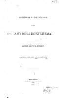Supplement to the Catalogue of the Navy Department Library PDF