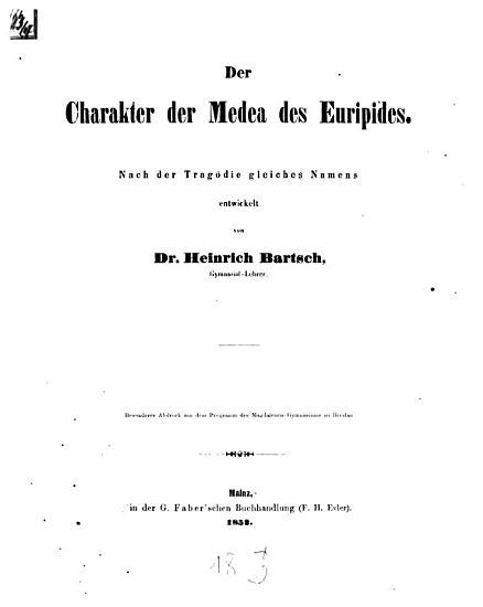 Der Charakter der Medea des Euripides PDF