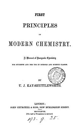 First principles of modern chemistry  a manual of inorganic chemistry