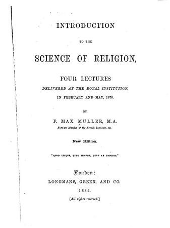 Introduction to the Science of Religion PDF
