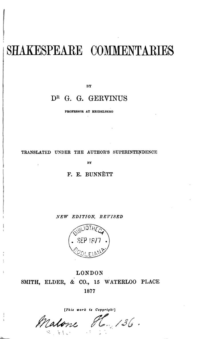 Shakespeare commentaries; tr. by F.E. Bunnètt