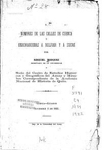 Nombres de las calles de Cuenca   y Enhorabuenas a Bol  var y a Sucre PDF