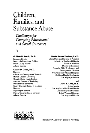Children, Families, and Substance Abuse