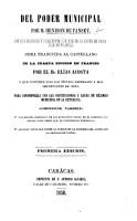 Del Poder Municipal   With introduction by E  V  Foucart   Obra traducida al Castellano de la cuarta edicion en Frances por     E  Acosta  etc PDF