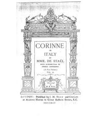 Corinne Or Italy: Volume 2
