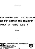 Effectiveness of Local Leadership for Change and Transformation of Rural Society PDF