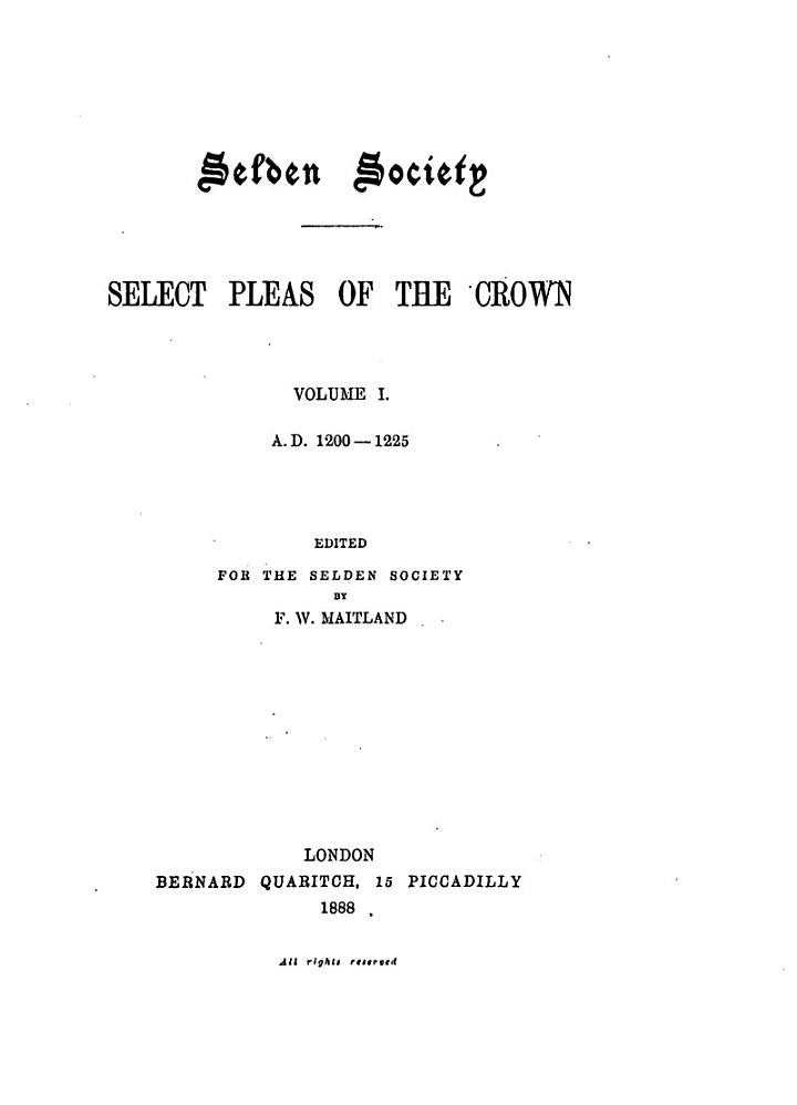 Select Pleas of the Crown