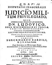 Disputatio inauguralis de iudicio militum privilegiato