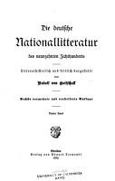 Die deutsche Nationallitteratur des neunzehnten Jahrhunderts PDF