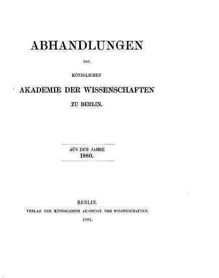 Abhandlungen der K  niglichen Akademie der Wissenschaften in Berlin PDF